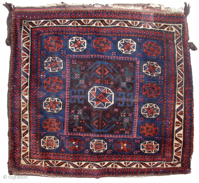 """Baluch Bag,  Full glossy pile, one re-weave in upper border, complete back. Detail photos on request. Northeast Persia, 4th Q. 19th cen., size = 3' x 3'2"""" Inv # 15004"""