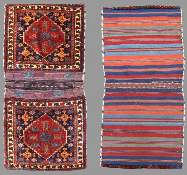 """This luxuriant complete set of Khamseh saddle bags or """" khorjin """" was woven in Southwest Persia using the finest, softest wool available. The colors, all achieved through traditional vegetal dyeing, glisten.  ..."""