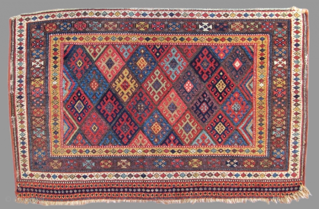 Jaf bags are some of the most iconic Kurdish weavings from Northwest Persia. This piece, woven as one of a pair of bagfaces for a set of saddlebags, is interestingly more elongated  ...