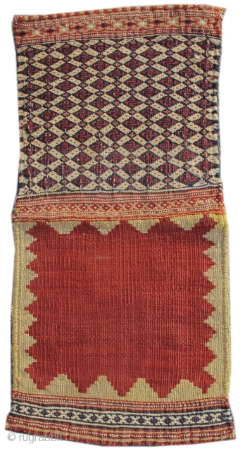 "Qashqai mixed technique flatwoven chanteh, excellent condition 1'0""x 1'0"" (not including back)  Inv#17792"
