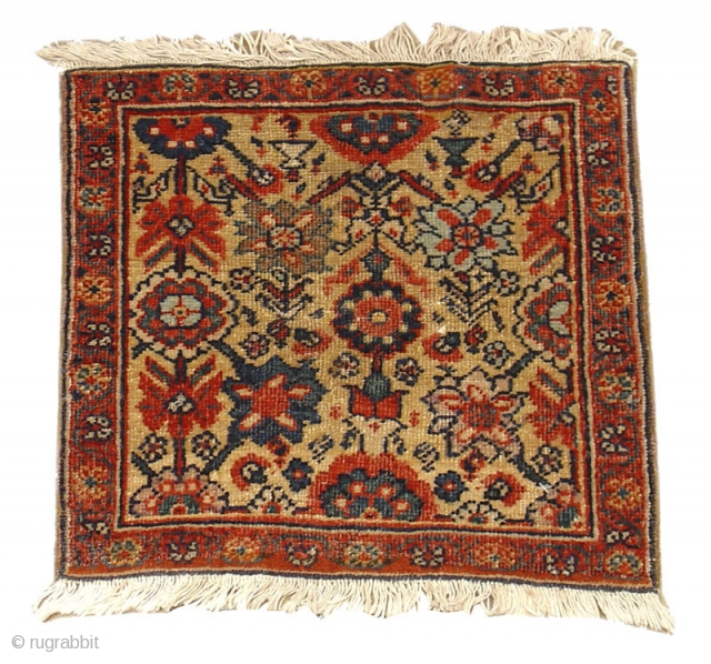 """A very pleasant Persian Feraghan bagface with a charming but sophisticated floral design incorporating elements of minakhani with shrubs and an array of blossoms. Excellent natural color as well.  size is 1'4""""x1'5""""  Inv#S4412  See this  ..."""