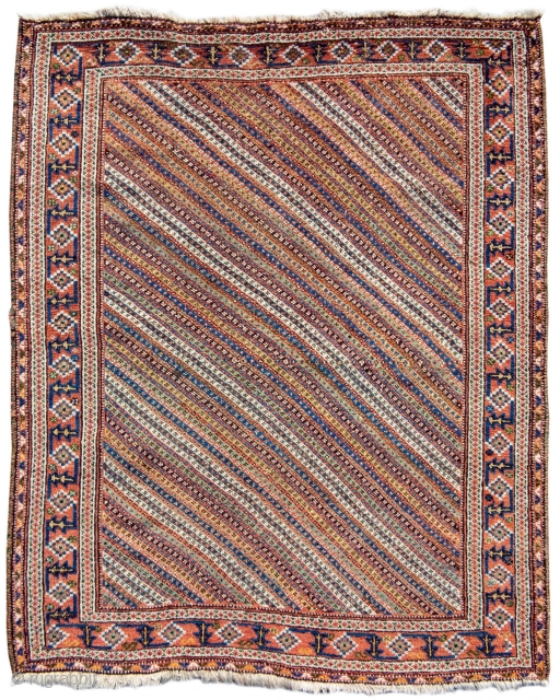 "Afshar rug with diagonal stripes, Size: 3'10"" x 4'9"", Rug ID: 19207"