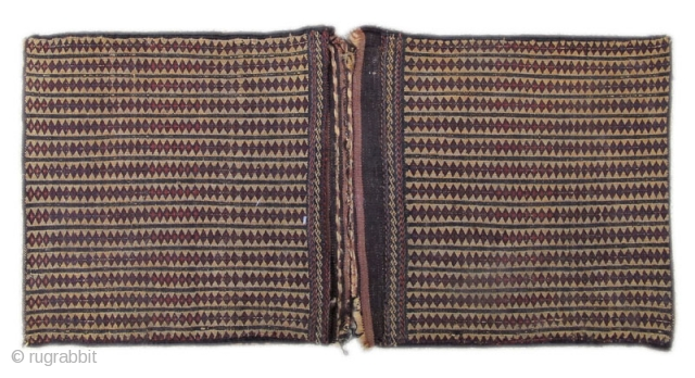 "Baluch flatwoven khorjin, early 20th Century. size=1'4""x2'9"".
