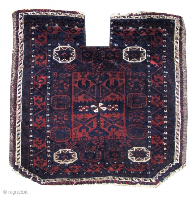 "Baluch saddle cover, c. 1900. size= 2'0""x2'0"". Excellent original condition other than slight visible wear on the edges from use as a saddle.