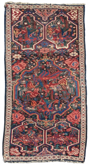 "Seichour Kuba rug, late 19th cen, size is 2'9""x5'2"". 