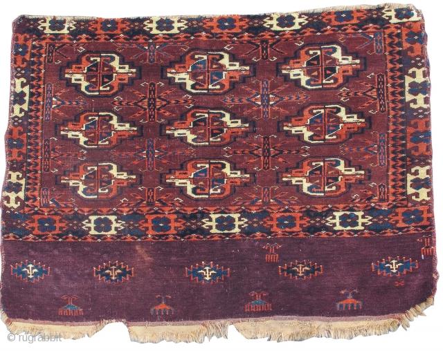 "Yomut or P-Chodor Turkmen chuval, 3'1"" x 2'5""  https://www.peterpap.com/product/yomut-chuval-28/"