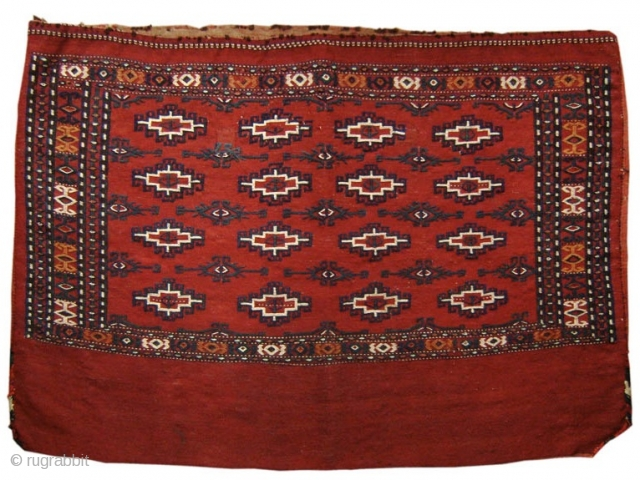 """Flatwoven Yomut Turkmen chuval with Memling guls. 2'8"""" x 4'0""""  https://www.peterpap.com/product/yomut-embroidered-chuval/"""
