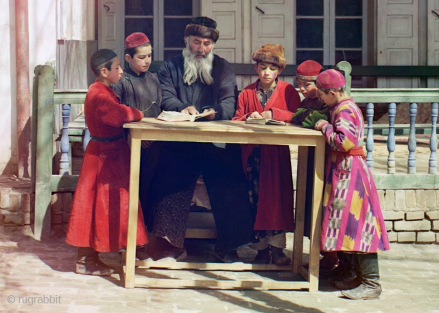 """A group of Jewish children with a teacher in Samarkand ca. 1910 from """"Russia in Color, A Century Ago"""" http://www.boston.com/bigpicture/2010/08/russia_in_color_a_century_ago.html"""