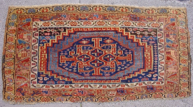"""Northwest Persian Kurdish Bagface with Memling gul derived medallion with a great tribal geometric center. Very Nice Colors. 3rd quarter of the 19th century. Size = 2'1"""" x 4'0"""". Inv #14872. If  ..."""