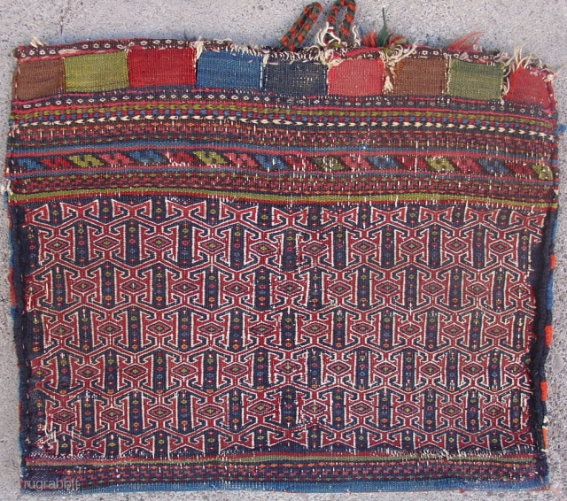"""Flatwoven Afshar bag. Sharp natural colors. Very graphic with a zig-zag kilim back. circa 1880. Size = 1'3"""" x 1'6"""". Inv. # 14863."""