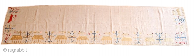 """Patmos Silk Floss EmbroideryGreece, 18th C. (2nd half)Size: 2'0"""" x 7'8"""" Excellent ConditionInventory #:14335"""
