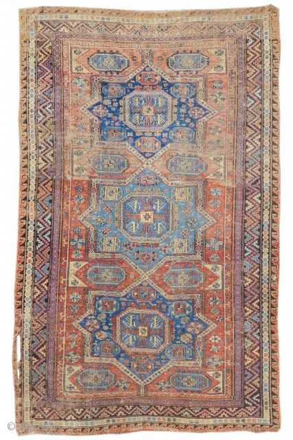 "Caucasian sumak rug, worn but authentic. 5'10""x8'7""  http://www.peterpap.com/rugDetail.cfm?rugID=17947"
