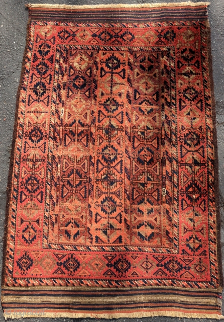 Baluch rug with a field made up of bands of border design. Excellent wool with complete flatwoven ends. Inv# 19205