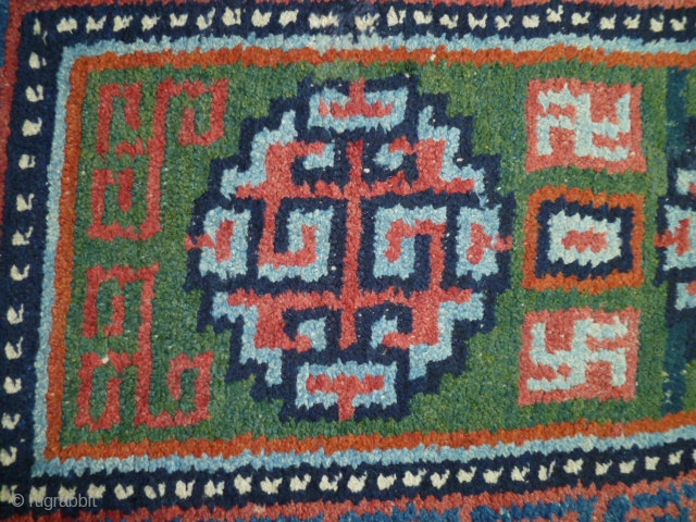 "A ""Wangdan"", 19th century Tibet little rug.  Size is 27 X 42 inches. Perfect condition and unusual weave - see shot or reverse."
