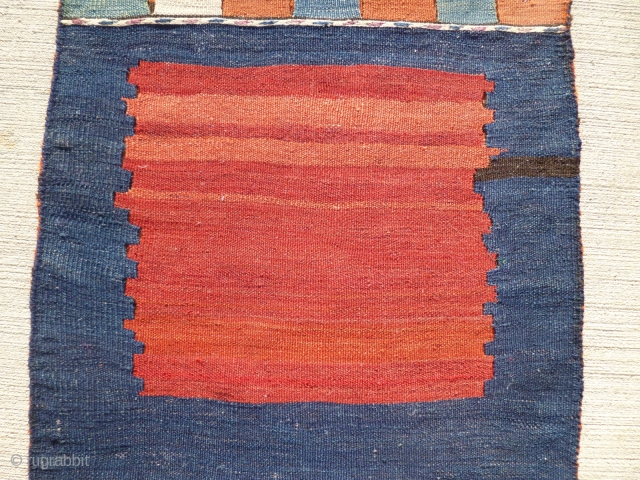 """Minimalist Persian flatwoven bag - complete.  Nice abrash - no repairs as far as I can determine.  Size: 21 X 51""""."""