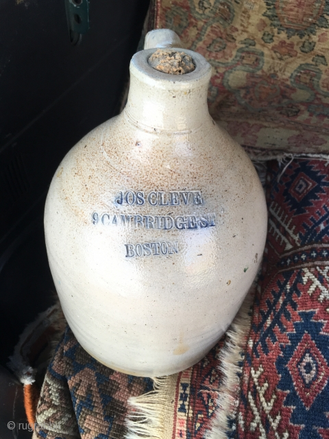 1890's salt glazed stoneware 1 Gallon  Advertising Jug Cobalt Stamped 'Jos Cleve, 9 cambridge St, Boston' As Made w no chips or cracks