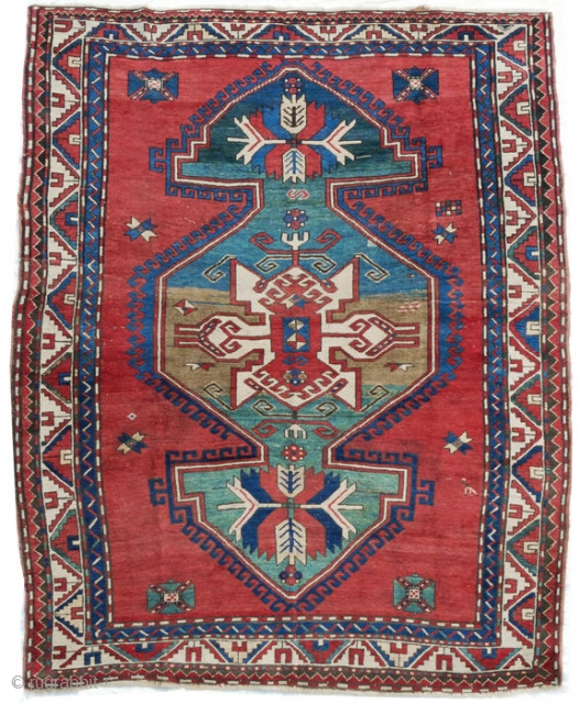 Antique Caucasian Kazak 7.9x5.7 feet Material:Wool on wool Manufacturing period:1850-1899 Country:Iran Condition:In very good condition Description:   This is an antique Lori Pambak from formerly Persian Azejberjan  Origin: Azejberjan (formerly Persia)  Age: likely over 100 years old  Material:  ...