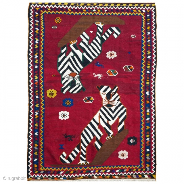 This is an authentic mid 20th century Qashqai Kilim from the Zagros mountains in south-west Iran.