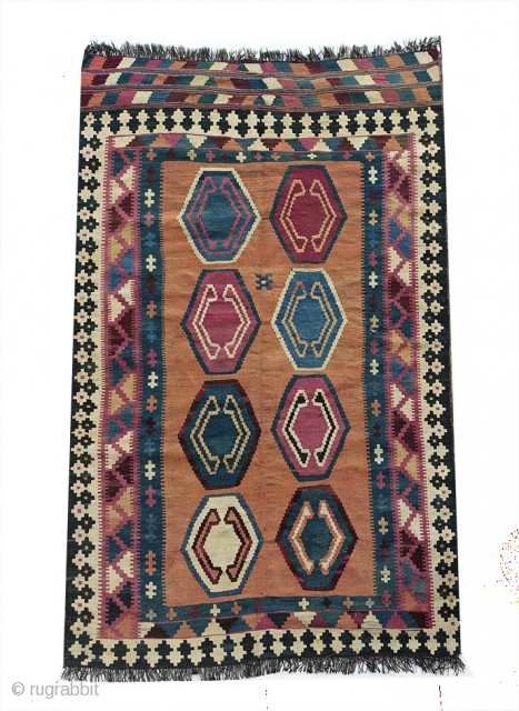 AUTHENTIC LARGE SEMI-ANTIQUE Nomadic QASHQA'I Kilim 227x142 cm from 1960s