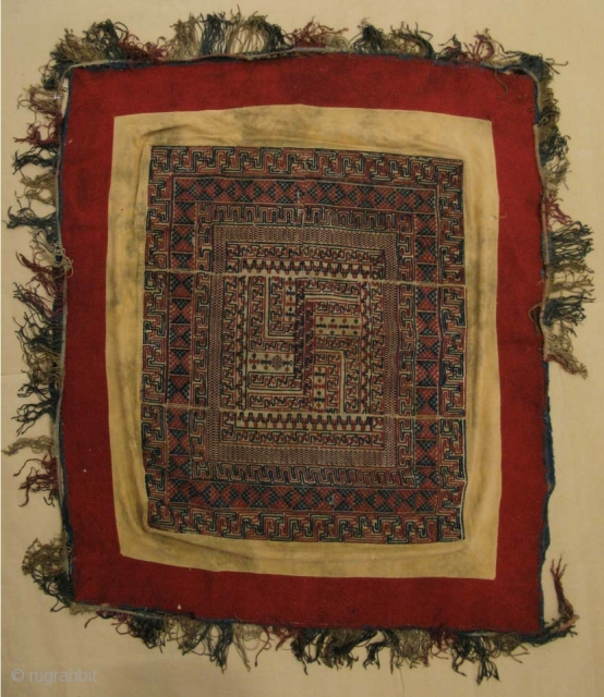 """Antique Bhutanese ceiling canopy """"Tikhep"""" worked in brocaded cotton and raw silk in polychrome colors.The central motif is a Buddhist double swastika (yudrung). The central textile is mounted in a frame of  ..."""