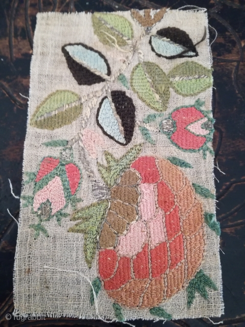 A planty of small embroiderys. Wool silk metal on cotton. Probably Europe Vienna Ottoman. From collector Gillis Görz.