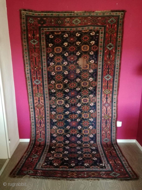 An antique Veramin with 292/154 cm. On wool rug. Good shape with signs of use. Small area with need of repile.
