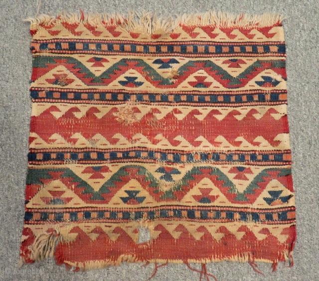Early 19th C West Anatolian Kilim Bag face Size.43x40 Cm