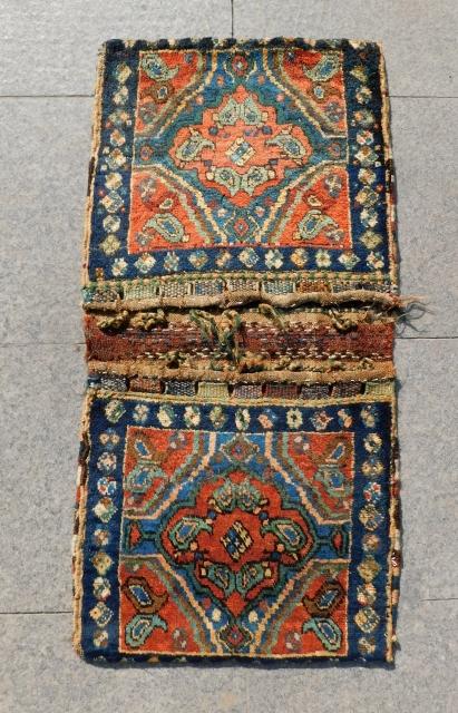 Antique Persian Kurdish Saddlebag Size.100x48 Cm