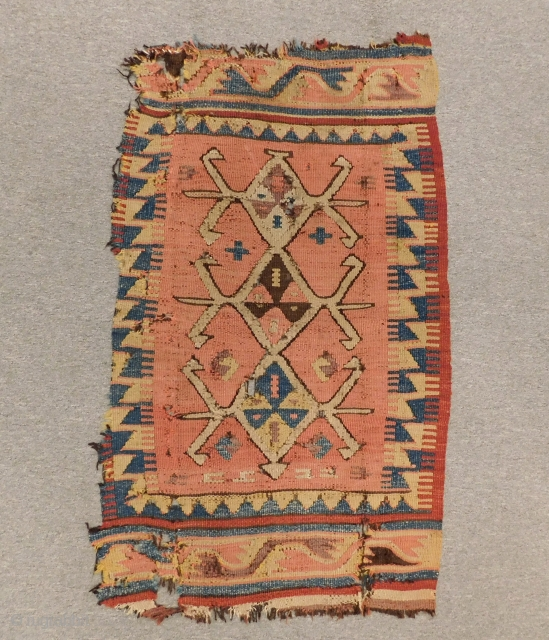 Early 19th Century Anatolian Kilim Yastık All Colours Natural Size.98x58 Cm
