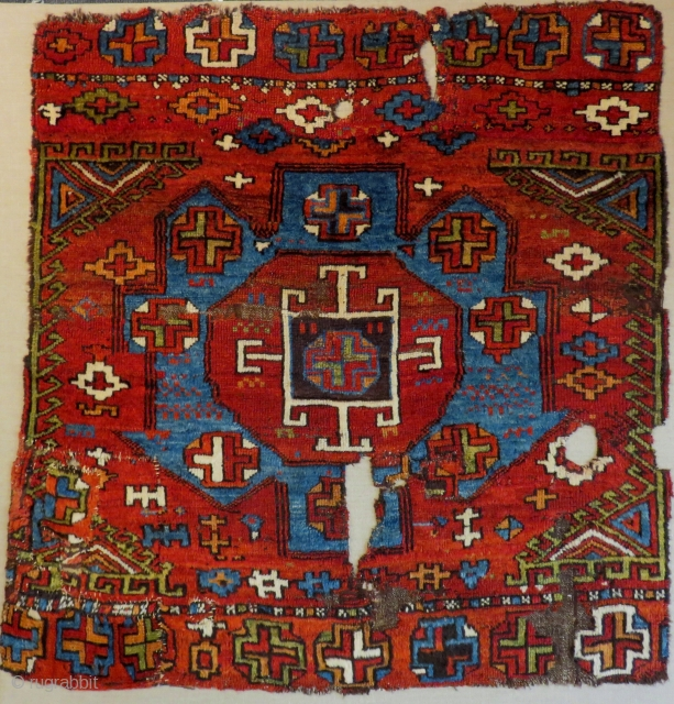 Early 18th Century Konya Rug not original One model cut Size.100x92 Cm