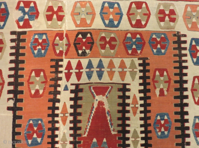Early 19th Century Central Anatolian Prayer Kilim Size.210x125 Cm
