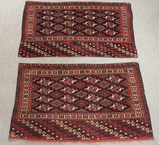 Antique Türkmen Yamud two pieces Size.136x77cm. 136x76cm