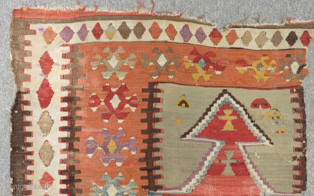 Antique Anatolian Konya Prayer Kilim Fragment Size.90x78cm