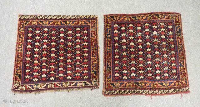 Antique Persian Kürsh Bagface Two pieces Size.57x57cm 57X52cm