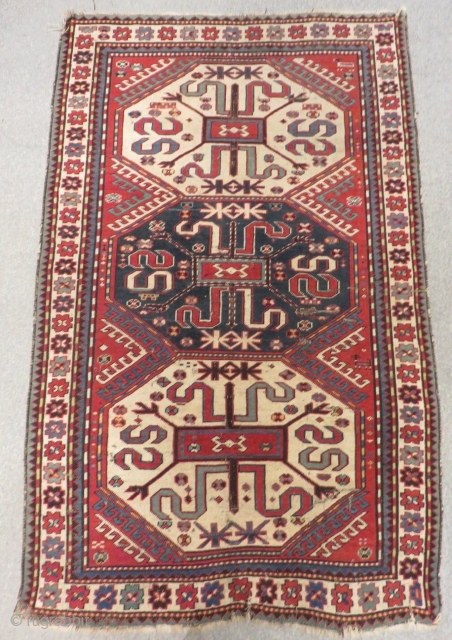 Antique Caucasian Cloudband Rug With Good Colors With Beautiful White Madalion Size.205x128 Cm
