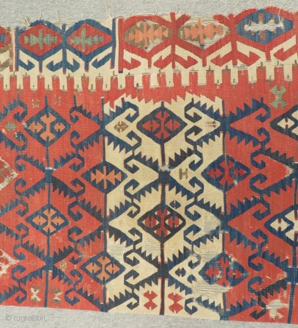Second 18th Century Anatolian fragment Kilim Size.250x85 Cm