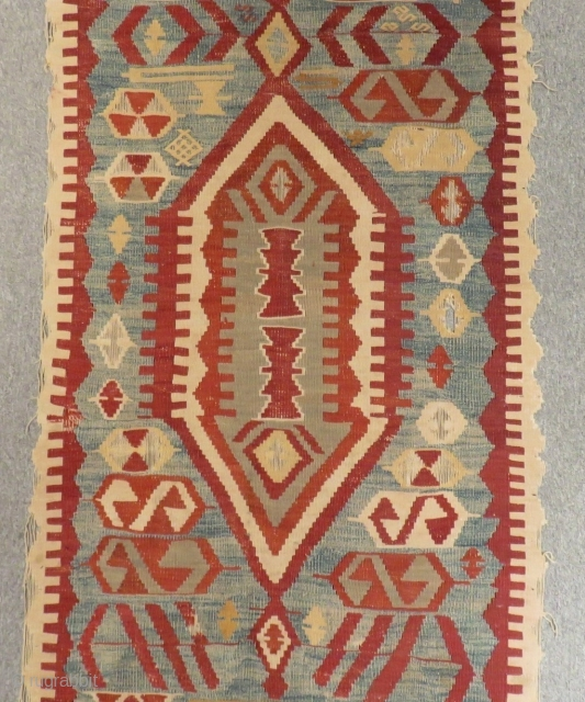 Mid 19th Century Central Anatolian Konya Aksehir Kilim Size.420x95 Cm