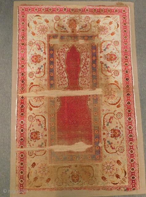 Mid 19th Century Ottoman Feshane Silk Prayer Rug mounted on linen Size.125x78 Cm