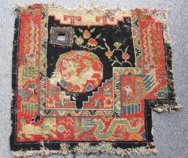 Antique Tibetian Horse Cover Fragment Carpet Size.61x55cm