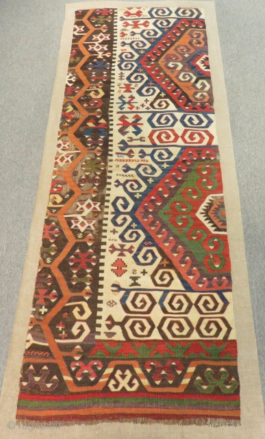 Mid 18th C Central Anatolian Konya fragment Kilim mounted on linen Size.205x70 Cm