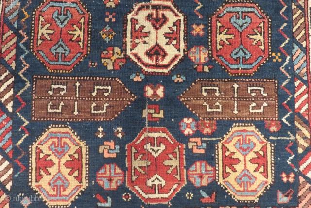 Antique Caucasian Dagıstan Fragment Carpet Size.90x62cm