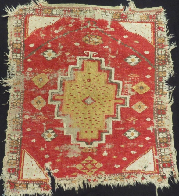 Early 19th Century Central Anatolian Konya Obruk Rug Size.135x120 Cm