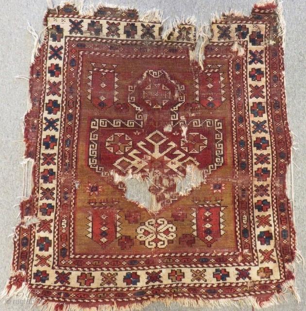Early 19th C West Anatolian Bergama fragment Rug Size.100x90 Cm