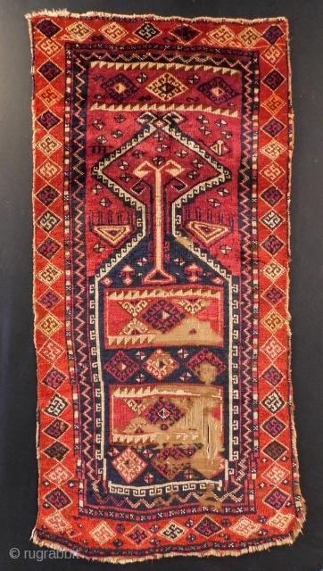 Second 19th C East Anatolian Malatya Prayer Rug Size.140x68 Cm