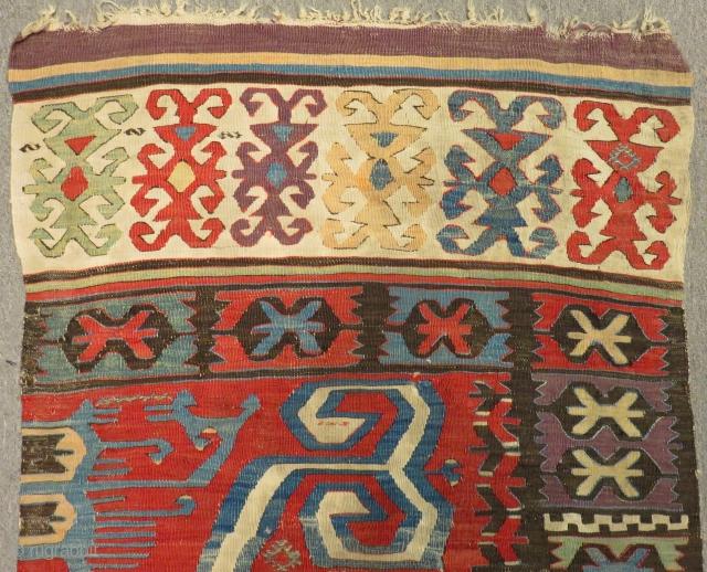 Mid 18th Century Cenral Anatolian One Part Kilim Size.320x85 Cm