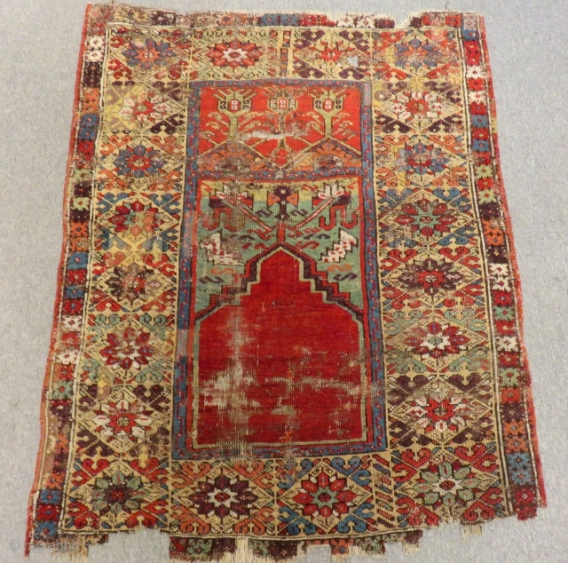 Early 18th Century Central Anatolin Konya Prayer Rug Size.142x110cm
