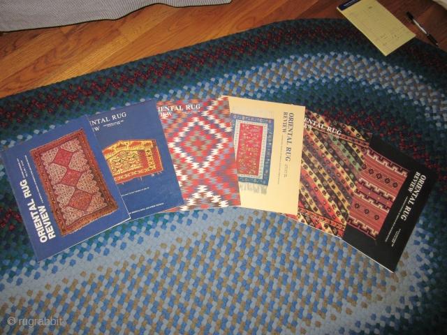 Oriental Rug Review: Volume 8 #1 through Volume 16 #2 (1987-1995)  Excellent condition.