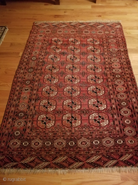 "Hi all and Happy Holidays. This posting is for a Turkman Tekke tent or sitting rug ca 1910-1920. approx.. 54""x84"" / 137cmx213cm. Very nice overall condition.  Rug is clean, no  ..."