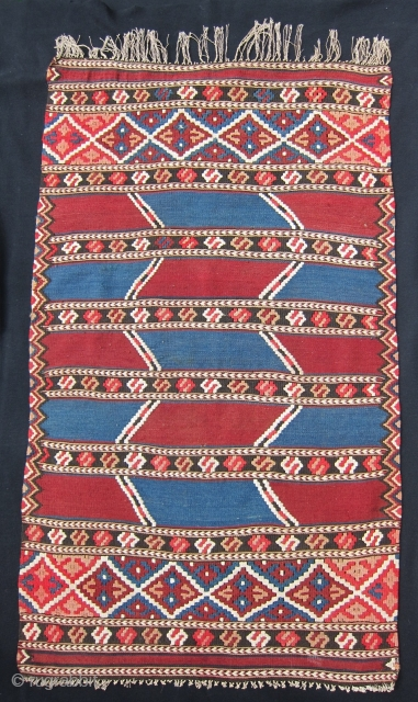 "Finely woven and beautifully composed Monastir small kilim,  22"" x 38"", in excellent condition.  Note the outlining of the color blocks, and finely drawn detail of ends and sides."