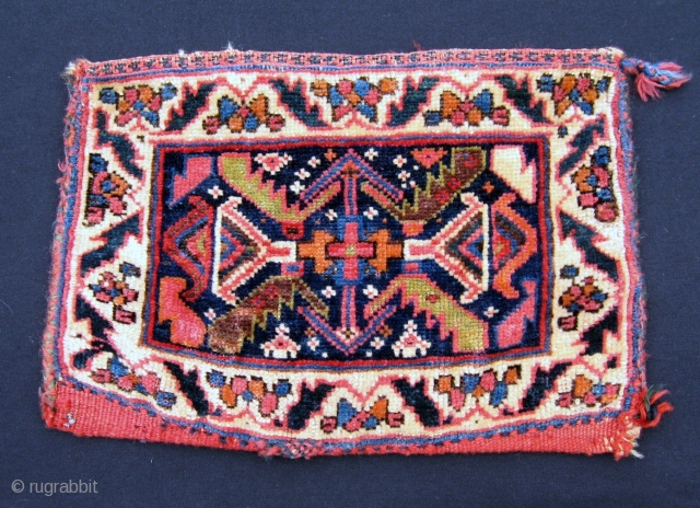 """Afshar chanteh, 10"""" x 15"""", late 19th/early 20th C.  Excellent range of colors and wool quality.  Small quarter size repair in the lower left-hand corner of the field.  A  ..."""
